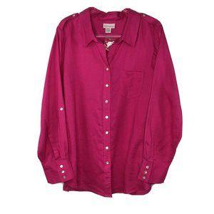Soft Surroundings Linen Button Front Shirt 3X Pink